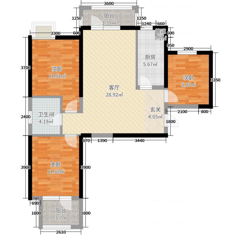 奥山世纪城114.00㎡三期3号楼E户型3室3厅1卫1厨