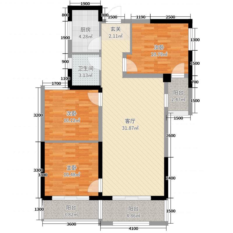 绿地云水谣109.00㎡高层E2户型3室3厅1卫1厨