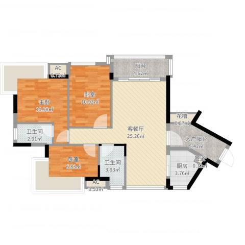 丽雅嘉园1室2厅2卫1厨96.00㎡户型图