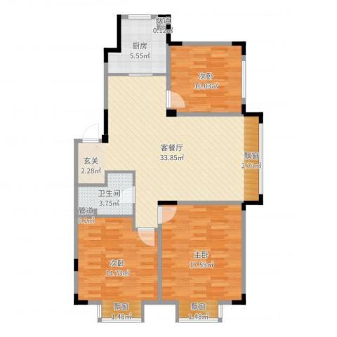 保利溪湖林语四期3室2厅1卫1厨107.00㎡户型图