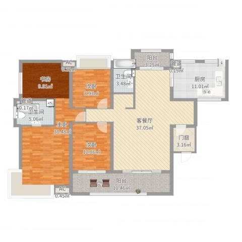 高山流水星币传说3室2厅2卫1厨157.00㎡户型图