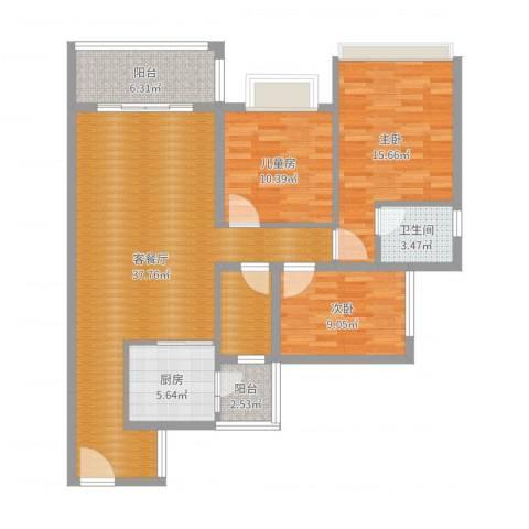 盛世华庭3室2厅1卫1厨118.00㎡户型图