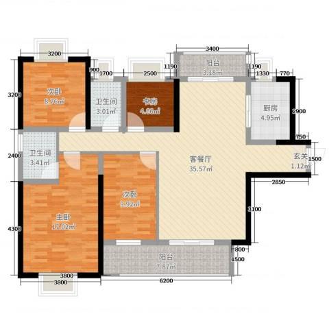 壹号公馆4室2厅2卫1厨134.00㎡户型图
