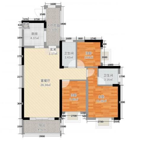 壹号公馆3室2厅2卫1厨97.00㎡户型图
