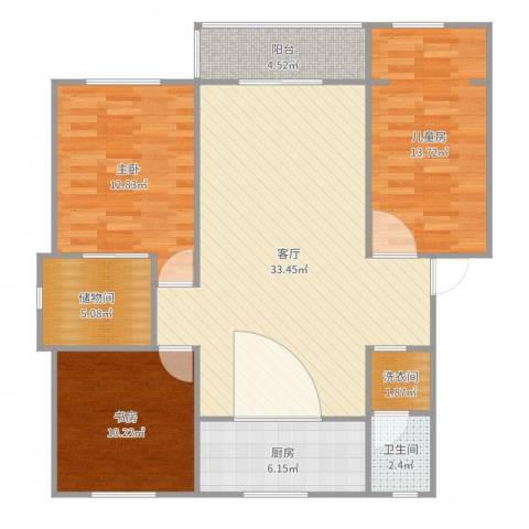 盛世华庭3室1厅1卫1厨113.00㎡户型图