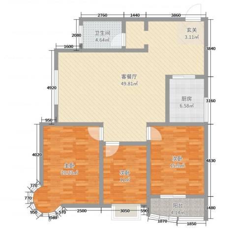 龙悦湾三期3室2厅1卫1厨140.00㎡户型图