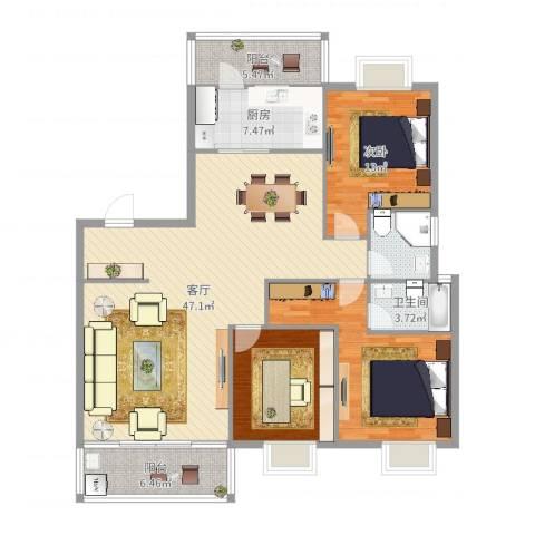 新时代1室1厅1卫1厨143.00㎡户型图