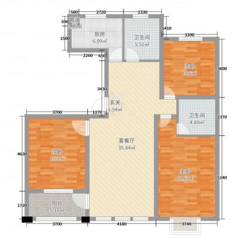 和美居3室2厅2卫1厨128.00㎡户型图