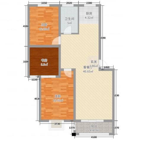 和美居3室2厅1卫0厨109.00㎡户型图