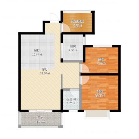 保利香槟国际2室1厅1卫1厨84.00㎡户型图