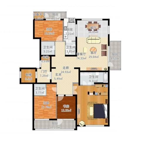 五矿万科・如园3室2厅4卫1厨282.00㎡户型图