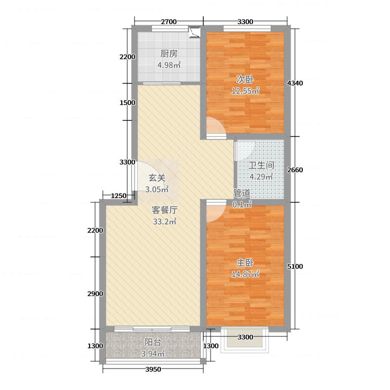 御景嘉园94.90㎡8#12#标准层户型2室2厅1卫1厨
