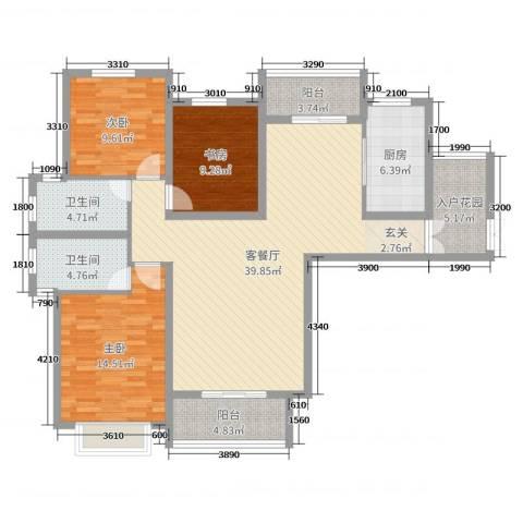 暨阳玫瑰城三期3室2厅2卫1厨132.00㎡户型图