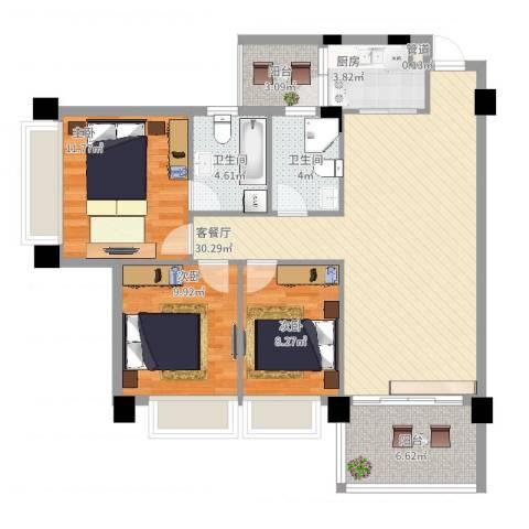 景湖春天3室2厅2卫1厨117.00㎡户型图