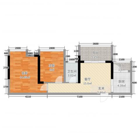 清泉城市广场2室1厅1卫1厨63.00㎡户型图