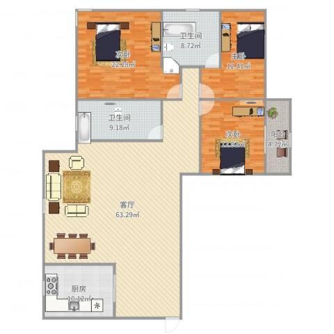 中兴花园3室1厅2卫1厨180.00㎡户型图