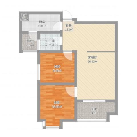 万象湾2室2厅1卫1厨76.00㎡户型图