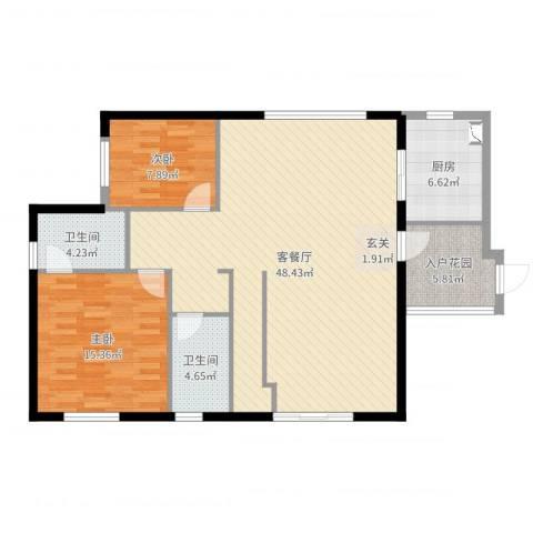 金茂华美达广场2室2厅2卫1厨116.00㎡户型图