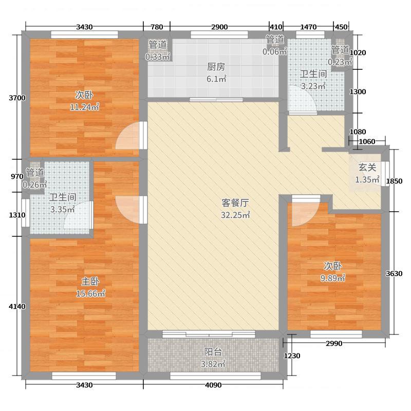 万科金色悦城108.00㎡2、5#7#8#楼阔绰三居户型3室3厅2卫1厨