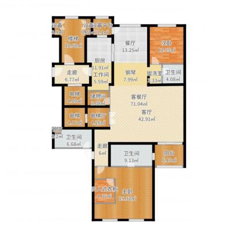 大华清水湾花园三期华府樟园2室2厅3卫1厨237.00㎡户型图