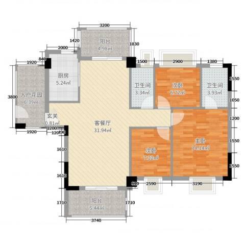 日华坊二期3室2厅2卫1厨121.00㎡户型图