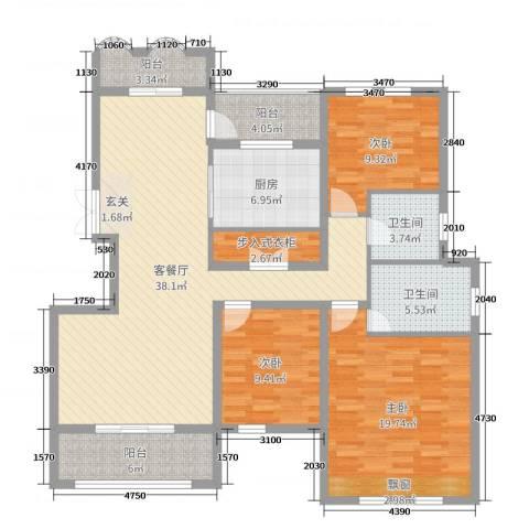天逸双水湾3室2厅2卫1厨136.00㎡户型图