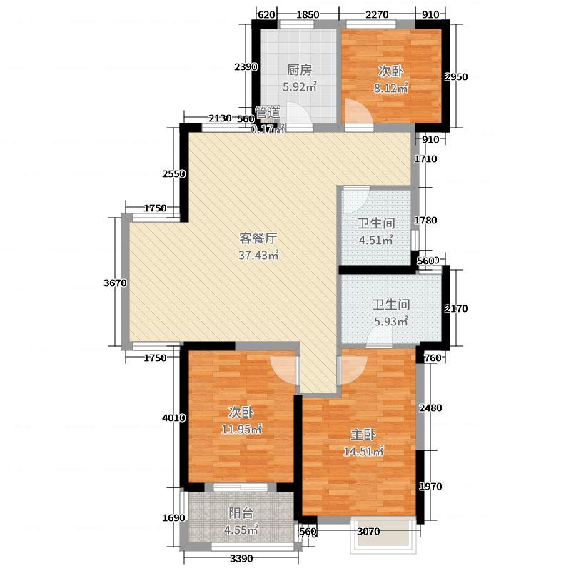 合肥国祯广场116.50㎡住宅G1-A户型3室3厅2卫1厨