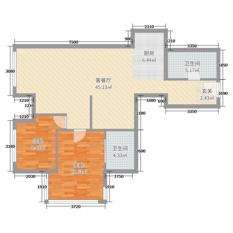 润德美爵宫馆项目104.90㎡1号楼F户型3室3厅2卫1厨