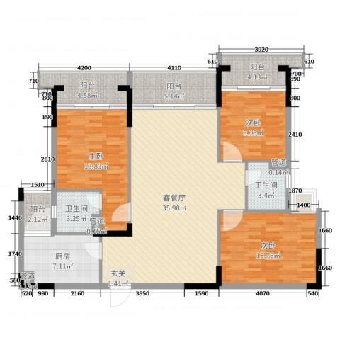 翡翠明珠3室2厅2卫1厨102.88㎡户型图