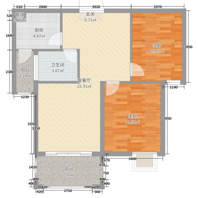 银河城81.00㎡F2户型2室2厅1卫1厨
