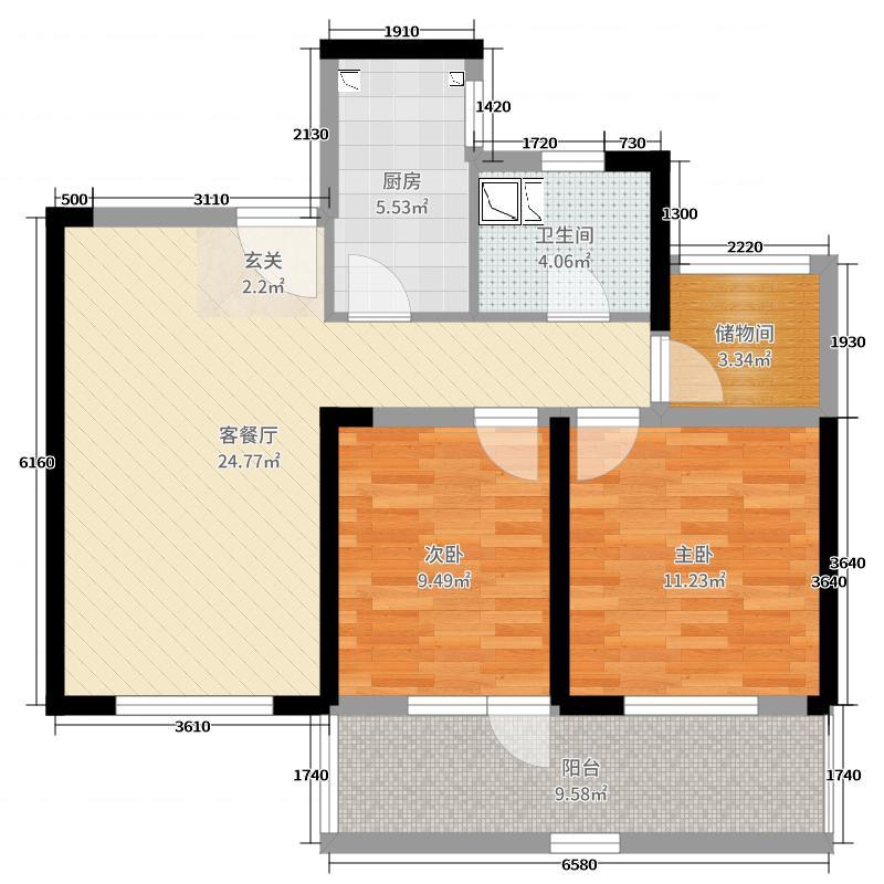 朗诗新北绿郡85.00㎡11#A1户型3室3厅1卫1厨