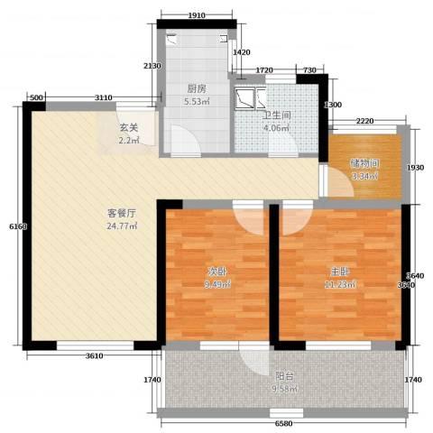朗诗新北绿郡2室2厅1卫1厨85.00㎡户型图