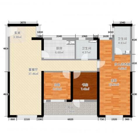朗诗新北绿郡3室2厅2卫1厨125.00㎡户型图