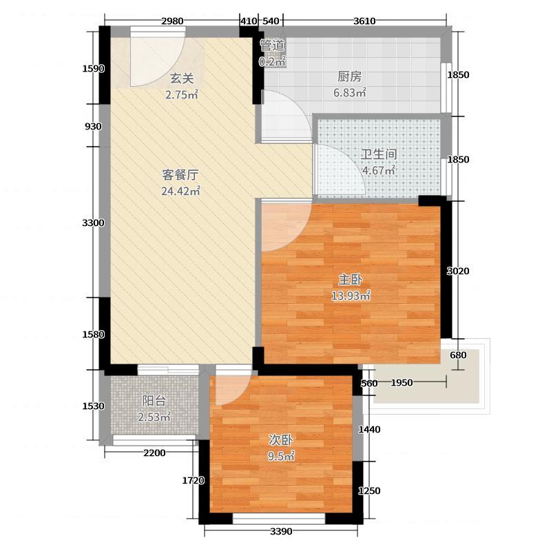 佳阳翠湖里75.73㎡9、10号楼D-2户型2室2厅1卫1厨