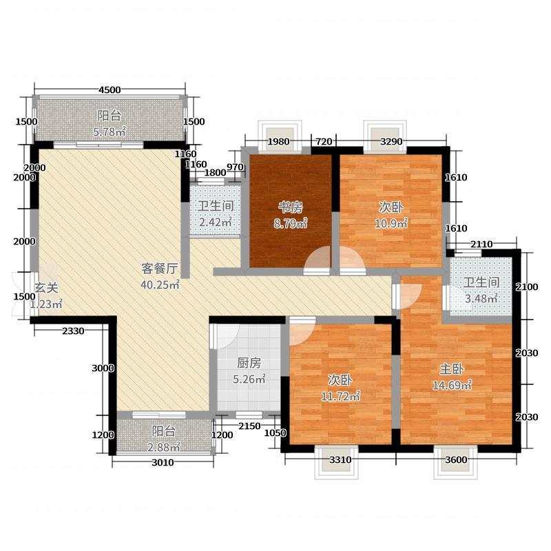 恒广国际景园141.80㎡C-3户型4室4厅2卫1厨