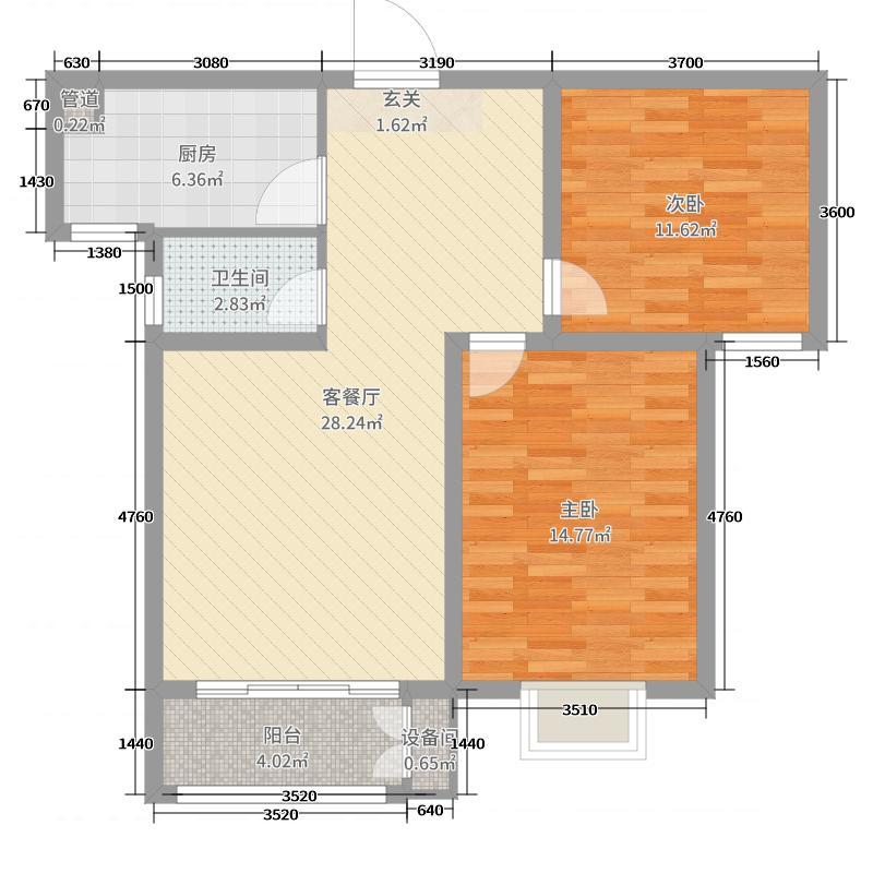 中山凯旋门85.91㎡11#E户型2室2厅1卫1厨