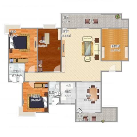 紫东嘉园3室2厅2卫1厨168.00㎡户型图