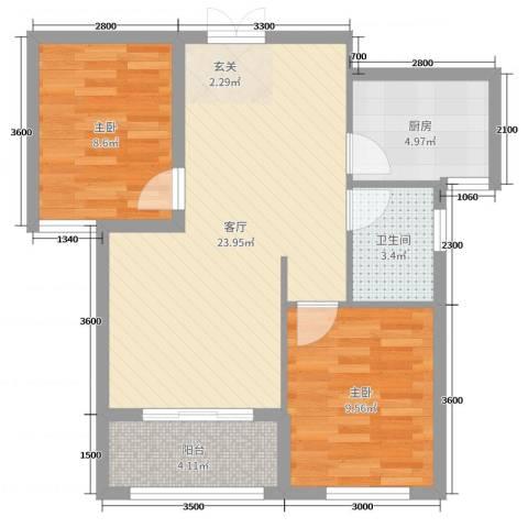 凤凰城2室1厅1卫1厨54.59㎡户型图