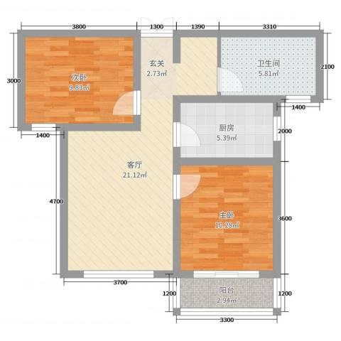 凤凰城2室1厅1卫1厨55.36㎡户型图