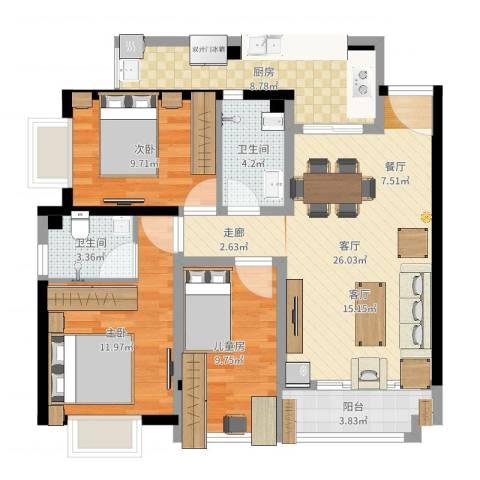 恒鑫名城三期3室1厅2卫1厨77.64㎡户型图