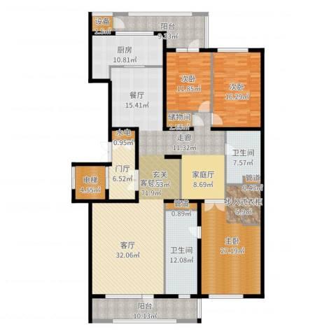 五矿万科·如园3室2厅2卫1厨242.00㎡户型图