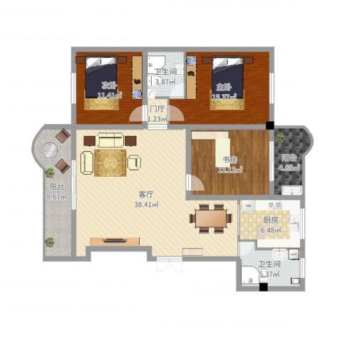繁荣广场23室1厅2卫1厨135.00㎡户型图