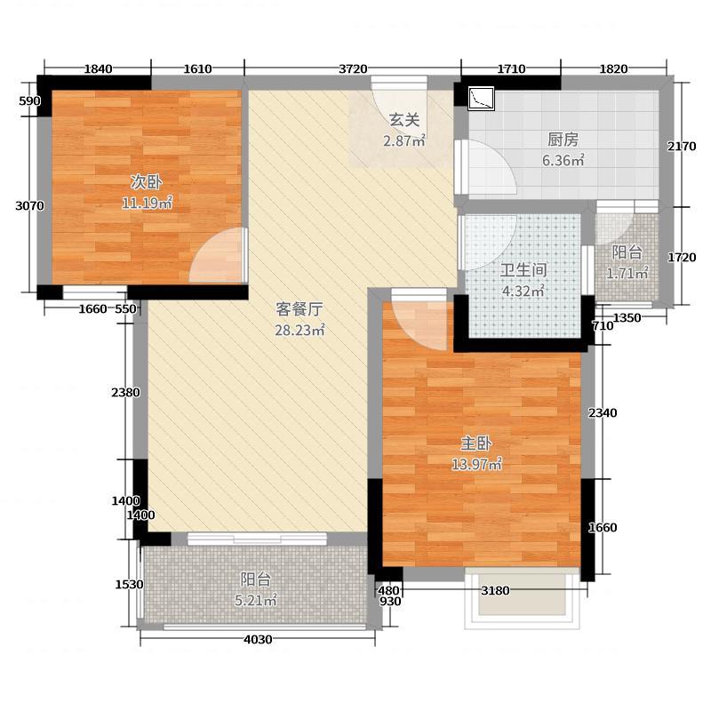 洋丰嘉园88.88㎡E户型2室2厅1卫1厨