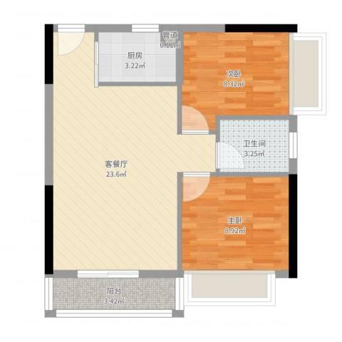 时尚岛蓝钻2室2厅1卫1厨64.00㎡户型图