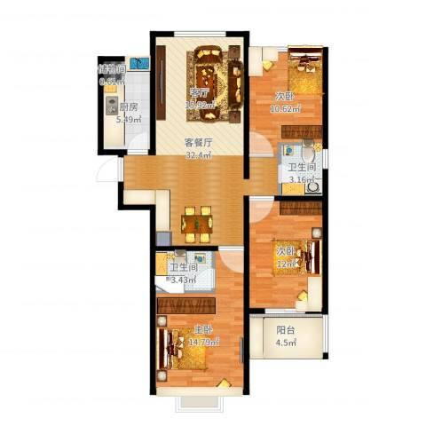 呈祥紫园3室2厅2卫1厨109.00㎡户型图