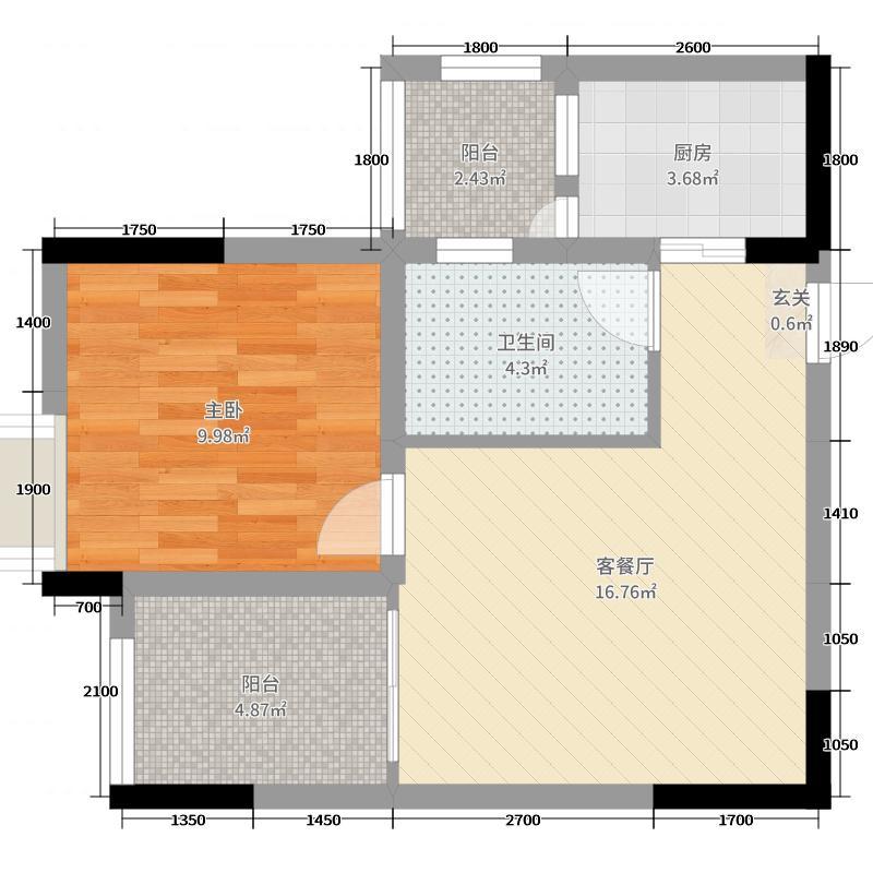 江岸国际54.61㎡15#2号房户型1室1厅1卫1厨
