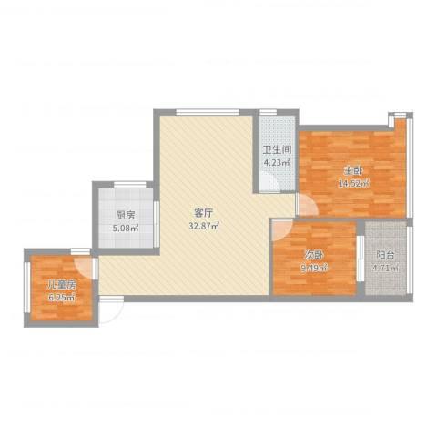 卓锦兰香3室1厅1卫1厨96.00㎡户型图