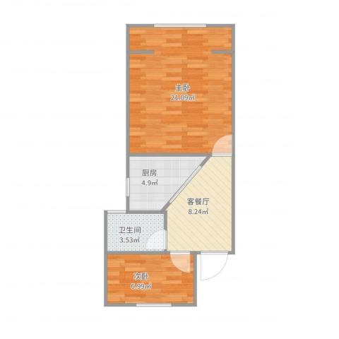 梅园五街坊1133弄20--6012室2厅1卫1厨61.00㎡户型图