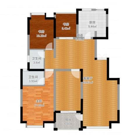 中海东郡3室2厅2卫1厨141.00㎡户型图