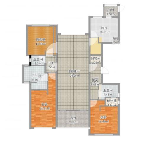 裕沁庭2室2厅3卫1厨177.00㎡户型图
